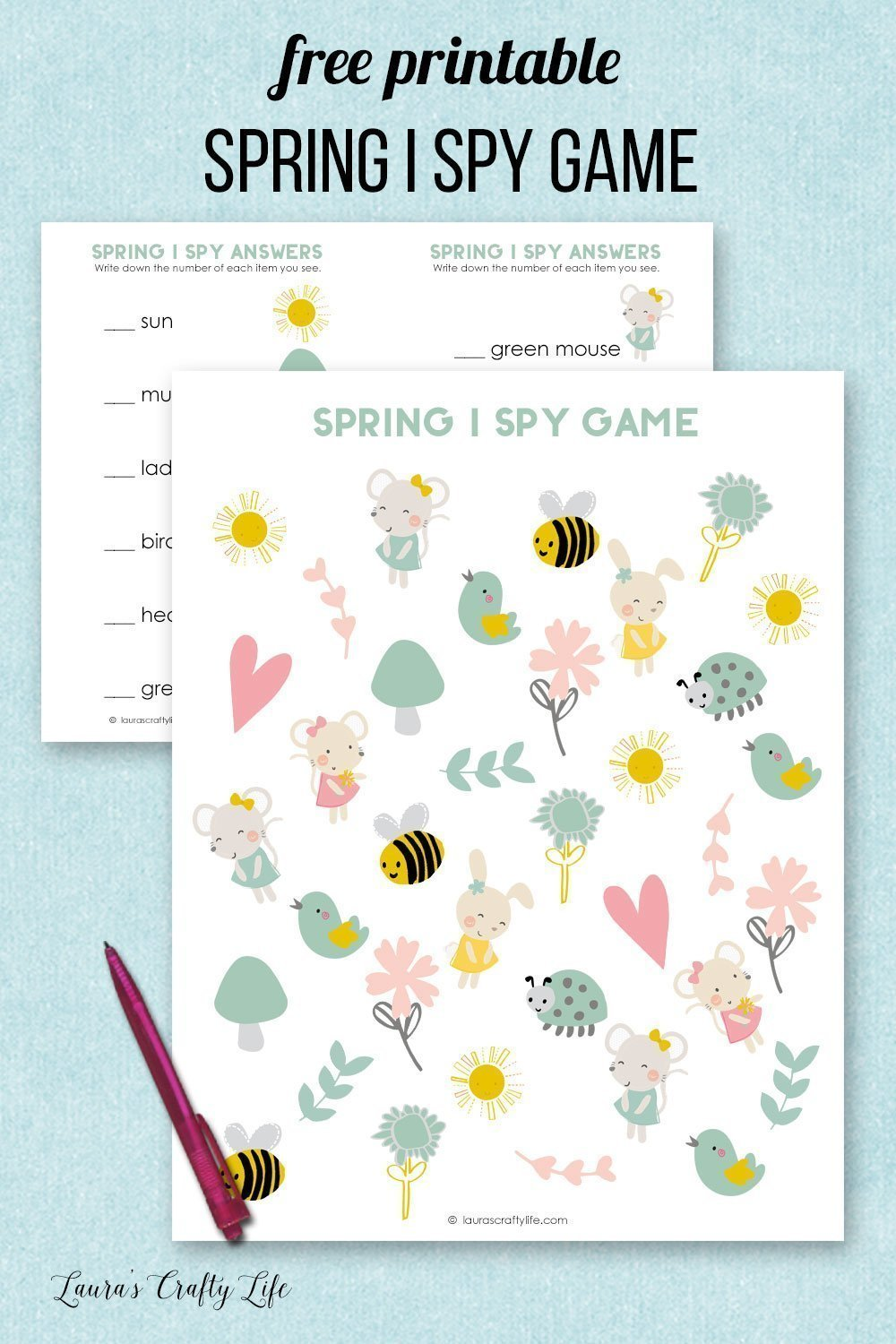 graphic regarding I Spy Printable identified as Spring I Spy Printable - Lauras Cunning Daily life