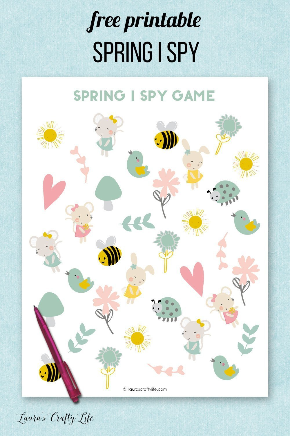 Free printable Spring I Spy game