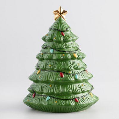 Ceramic Holiday Tree Cookie Jar