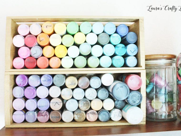 Craft paint storage using wooden crate