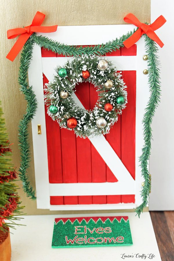 Enchanted Elf Door with wreath