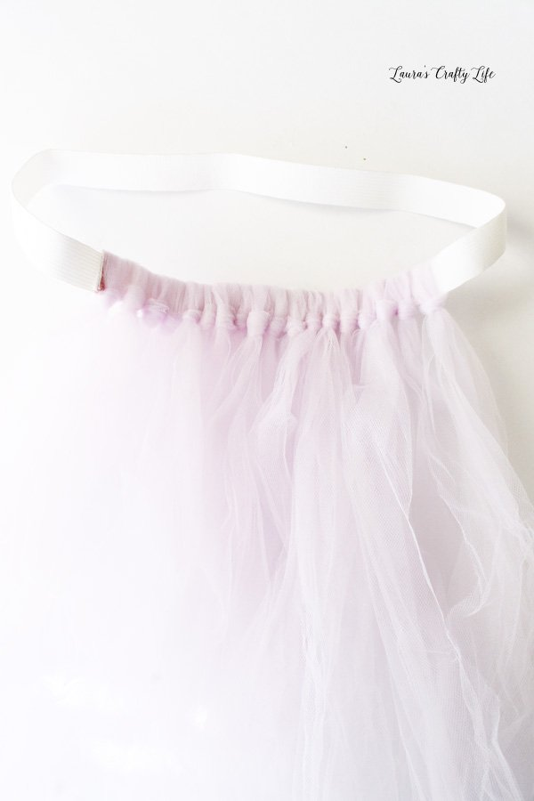 Loop tulle around elastic to make skirt