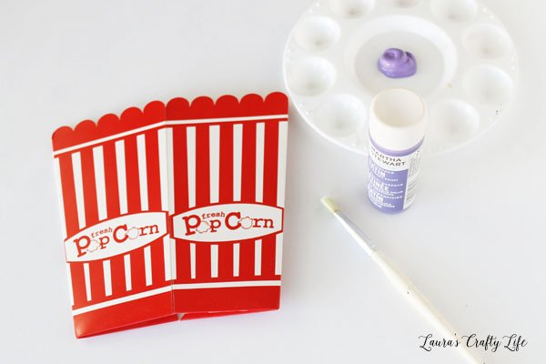 Paint popcorn box with acrylic craft paint