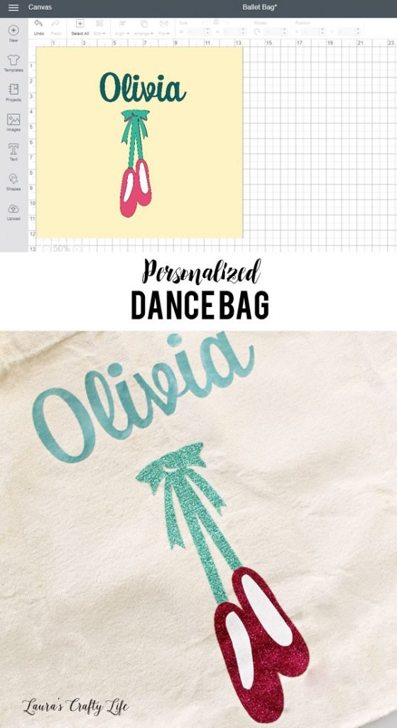 Personalized Dance Bag - create a personalized bag for ballet, tap, or any other dance class with Cricut Explore