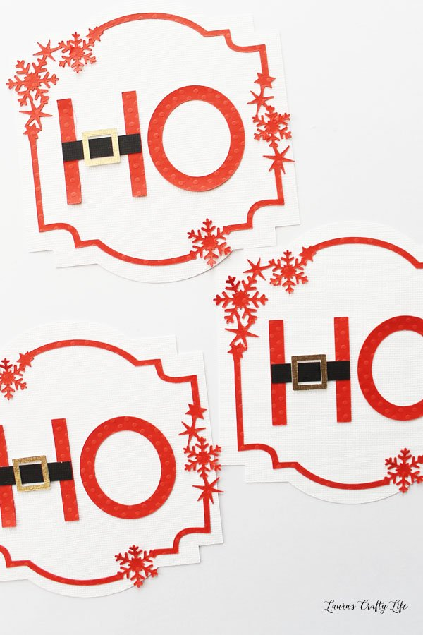 Attach Ho Ho Ho letters to banner shapes