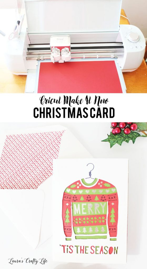 Cricut Make It Now Christmas Card - easily make an Ugly Christmas Sweater Card and Envelope using Cricut Explore