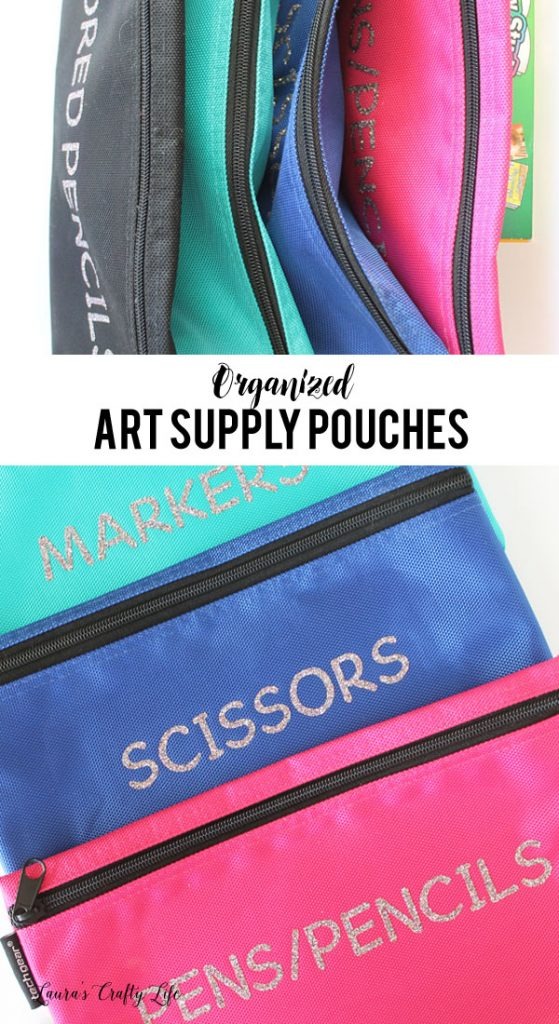 Organized Art Supply Pouches - use iron-on and your Cricut Explore to label canvas pouches