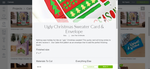 Select Customize project - Ugly Christmas Sweater Card