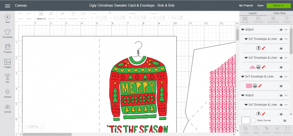 Ugly Christmas Sweater Card & Envelope - Cricut Design Space