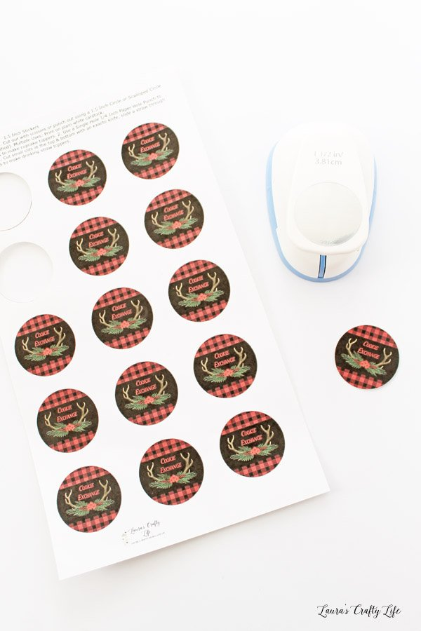 Buffalo Plaid Cookie Exchange Stickers - cut out with punch
