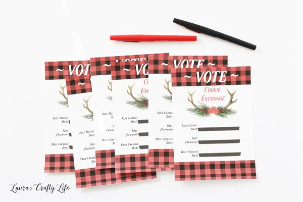 Buffalo Plaid Cookie Exchange Voting Sheets