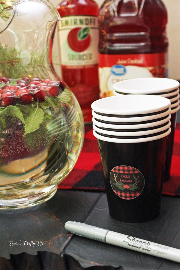 Buffalo Plaid Cookie Exchange cups