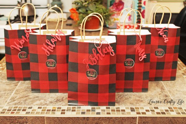 Buffalo Plaid Cookie Exchange favor bags