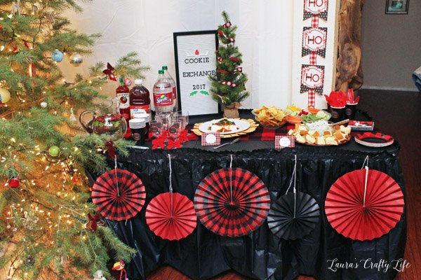 Buffalo Plaid Cookie Exchange party with Oriental Trading Co.