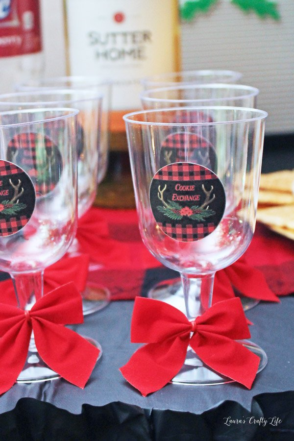 Buffalo Plaid Stickers on wine glasses