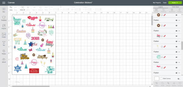 Celebration Stickers - Cricut Design Space