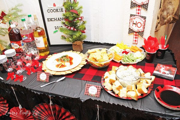 Food table at Buffalo Plaid Cookie Exchange