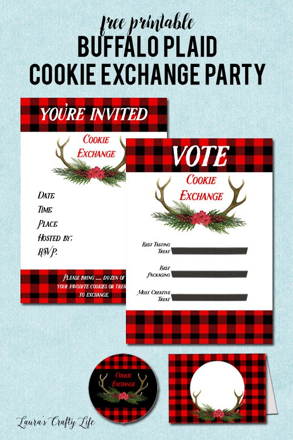 Free printable Buffalo Plaid Cookie Exchange party printables - invitations, stickers, table tents, and voting sheets