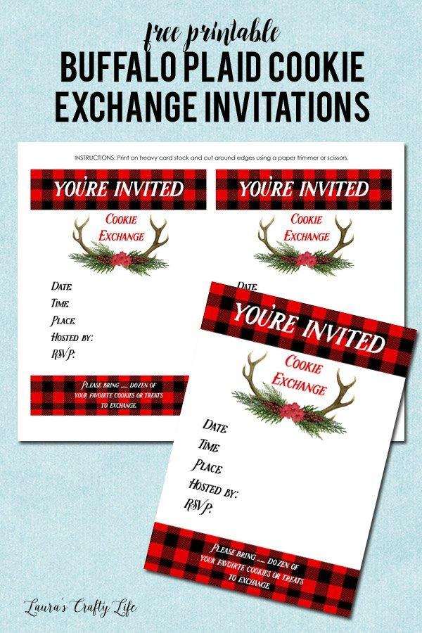 Free printable Buffalo Plaid cookie exchange invitations