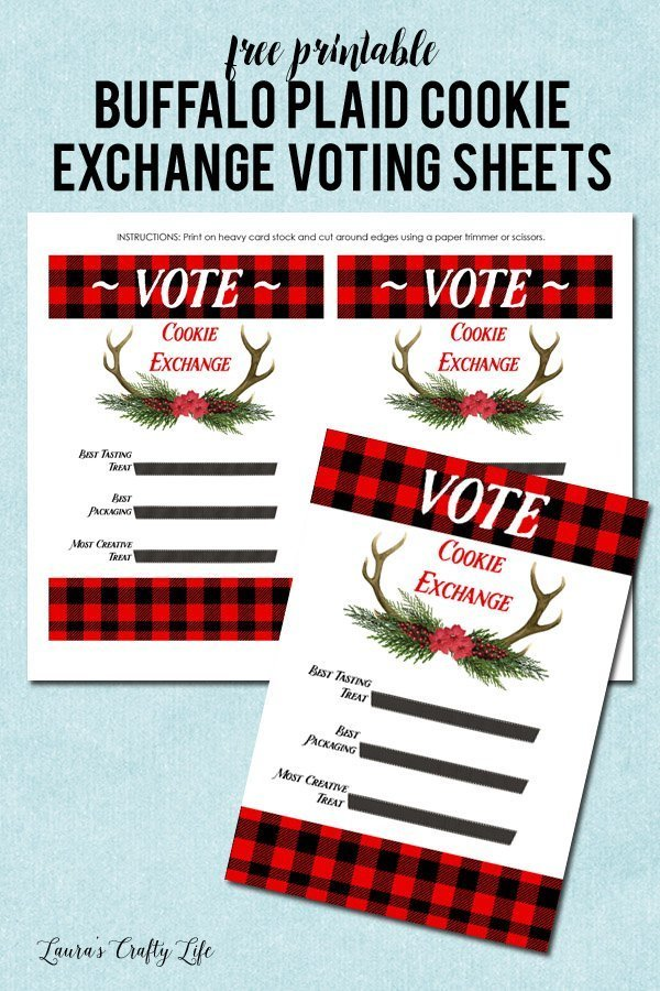 Free printable Buffalo Plaid cookie exchange voting sheets