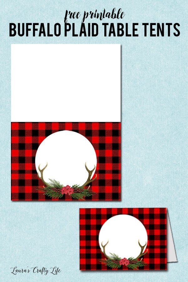 Free printable Buffalo Plaid table tents