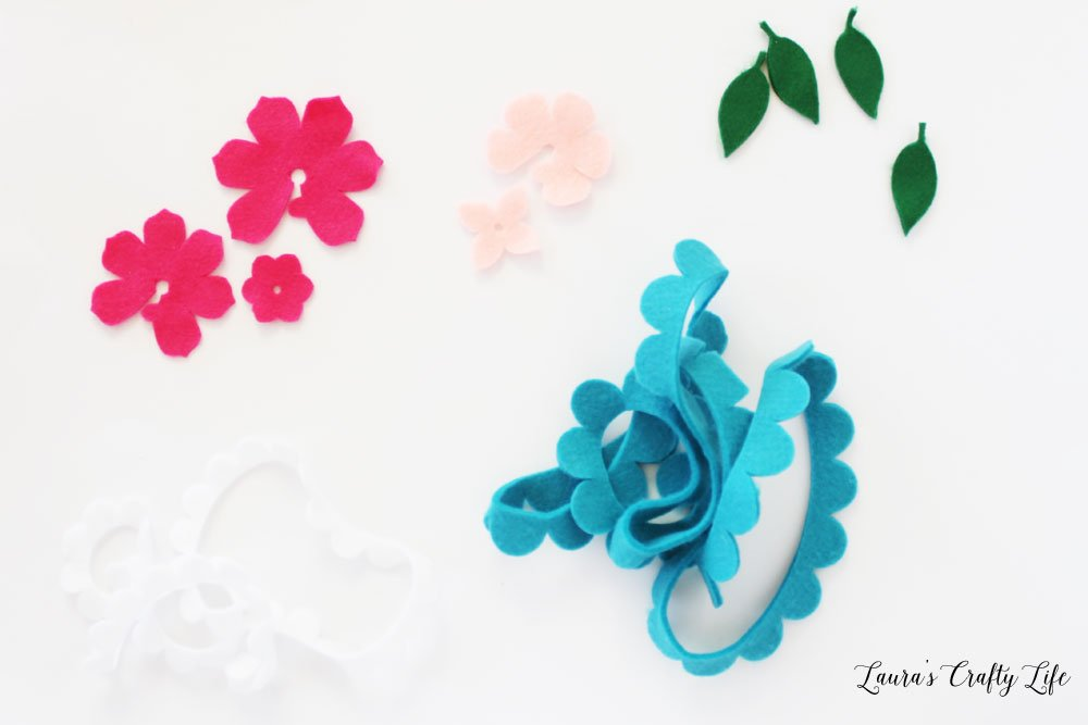 Cut out felt flower shapes with Cricut Maker