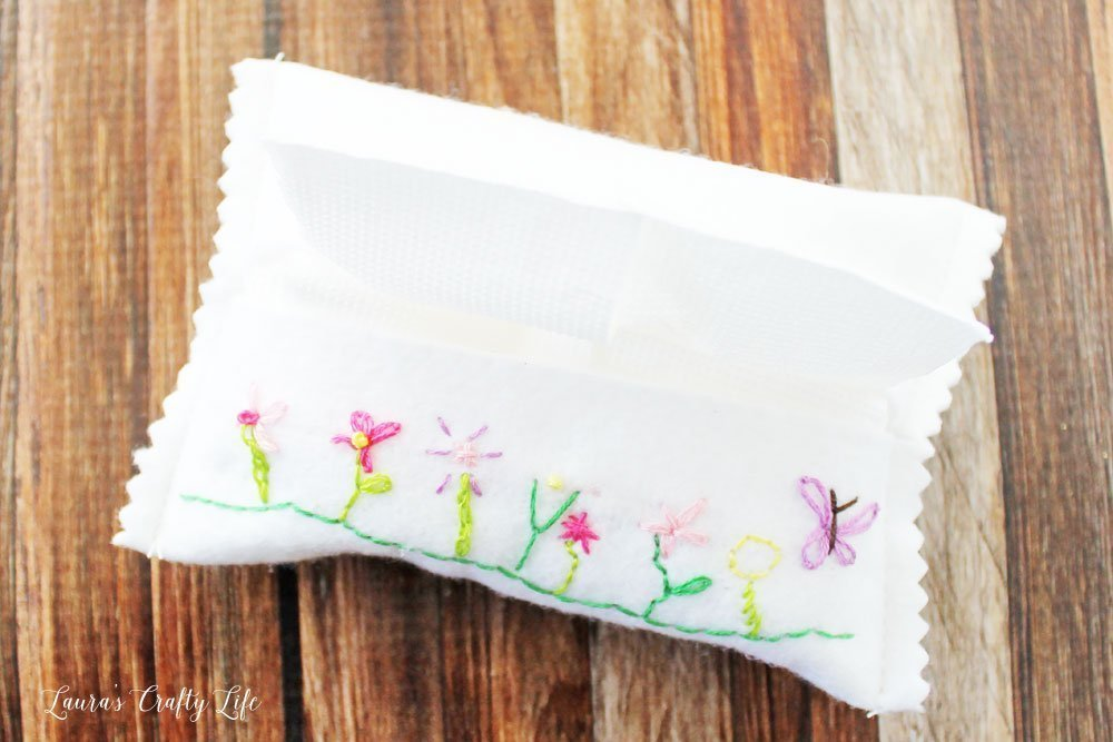 Embroidered Felt Tissue Case