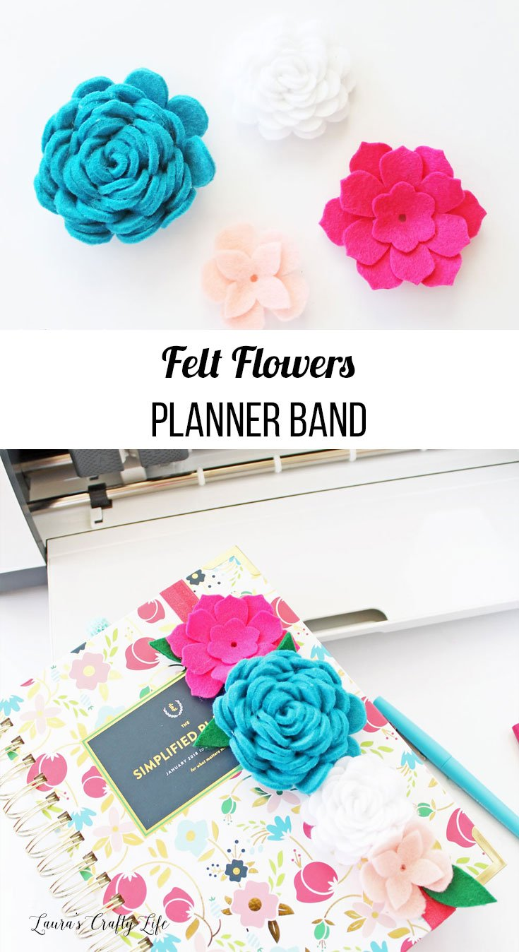 Felt Flowers Planner Band - how to make felt flowers to create a planner band or head band using the Cricut Maker