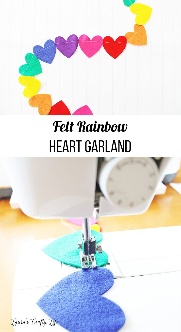 Felt Rainbow Heart Garland made with Cricut Maker