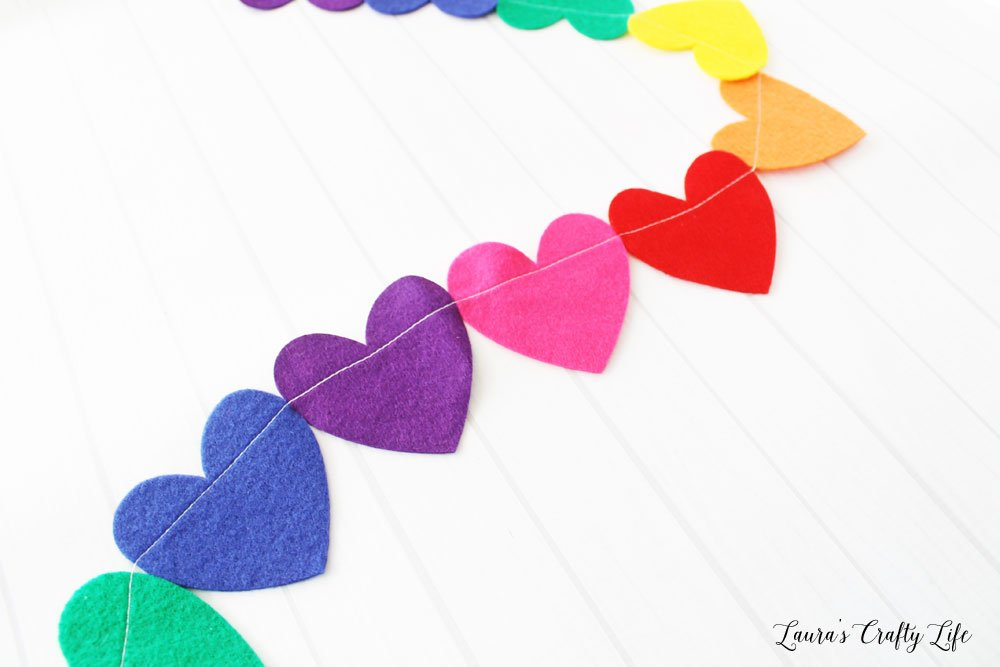 Felt Rainbow Heart Garland