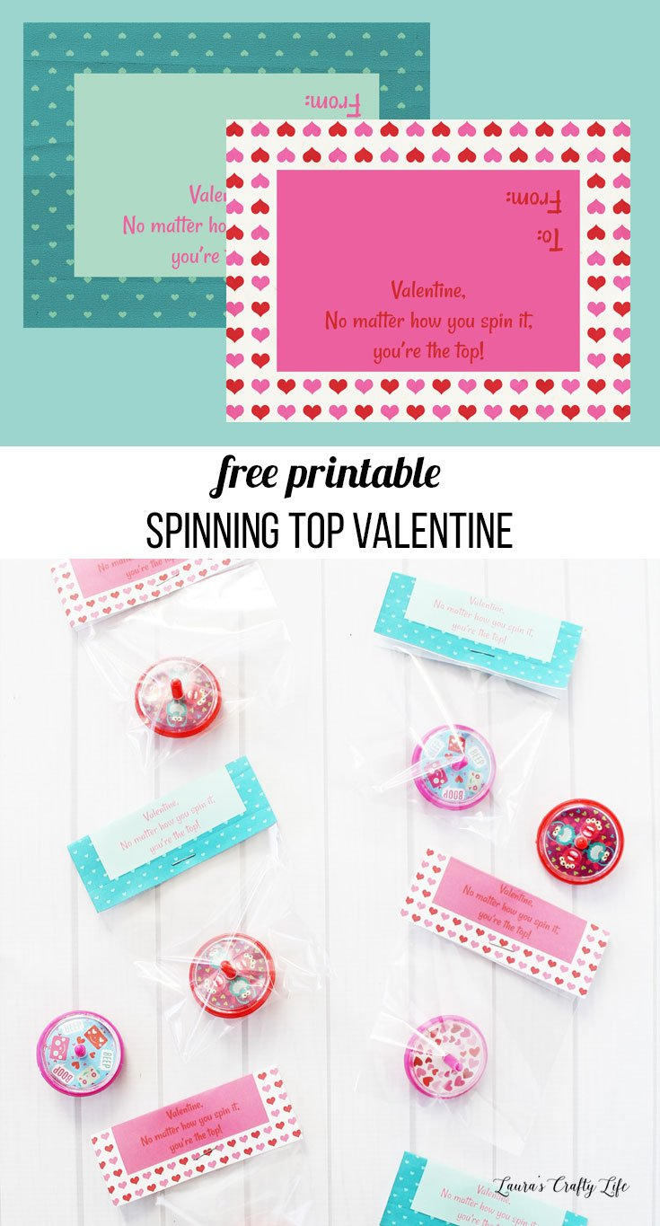 Free printable spinning top Valentine's Day cards