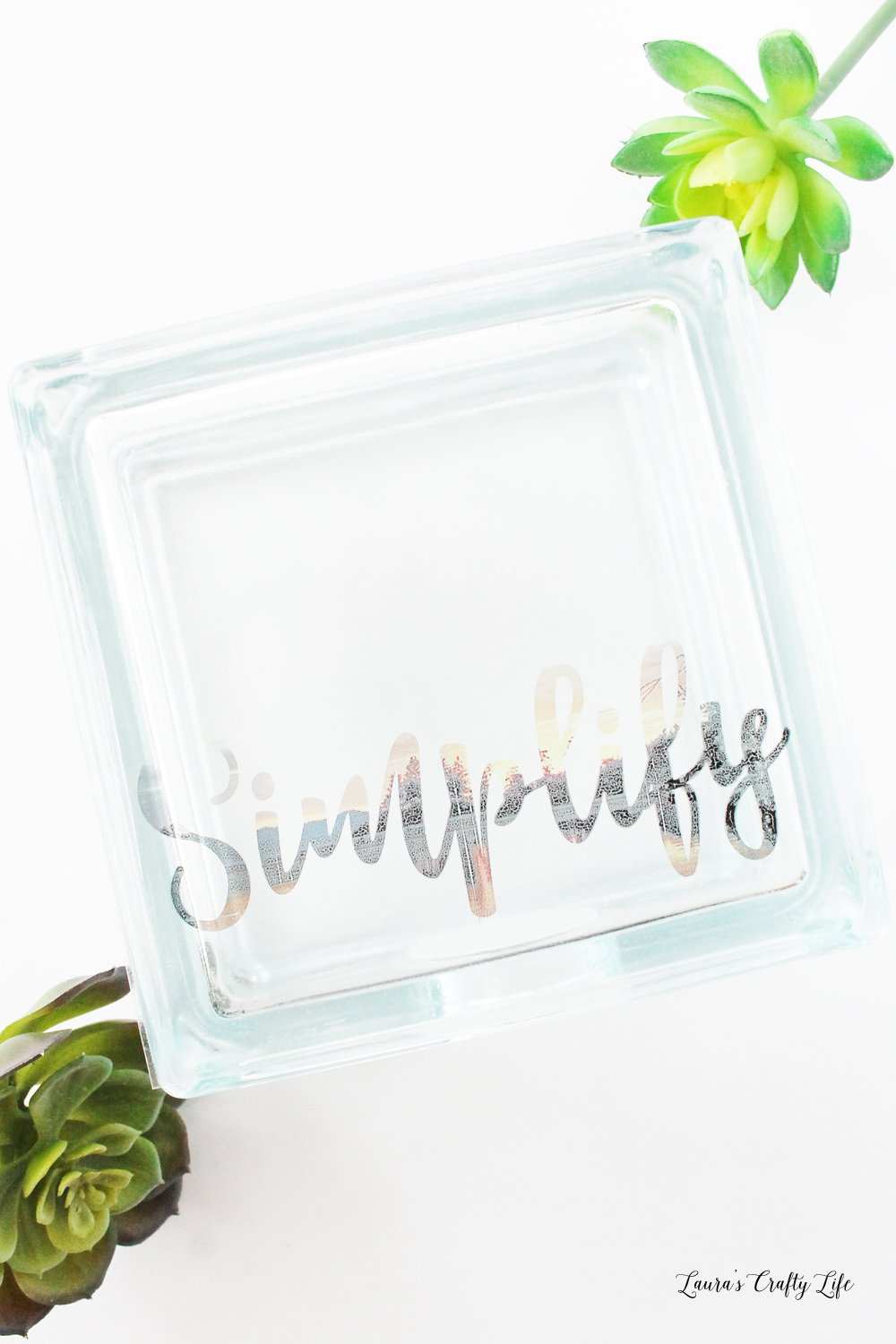 Inspirational Glass Photo Block - easy technique to change photo to word using Photoshop Elements 18