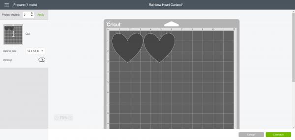 Rainbow Heart Garland - Cut two hearts in each color in Cricut