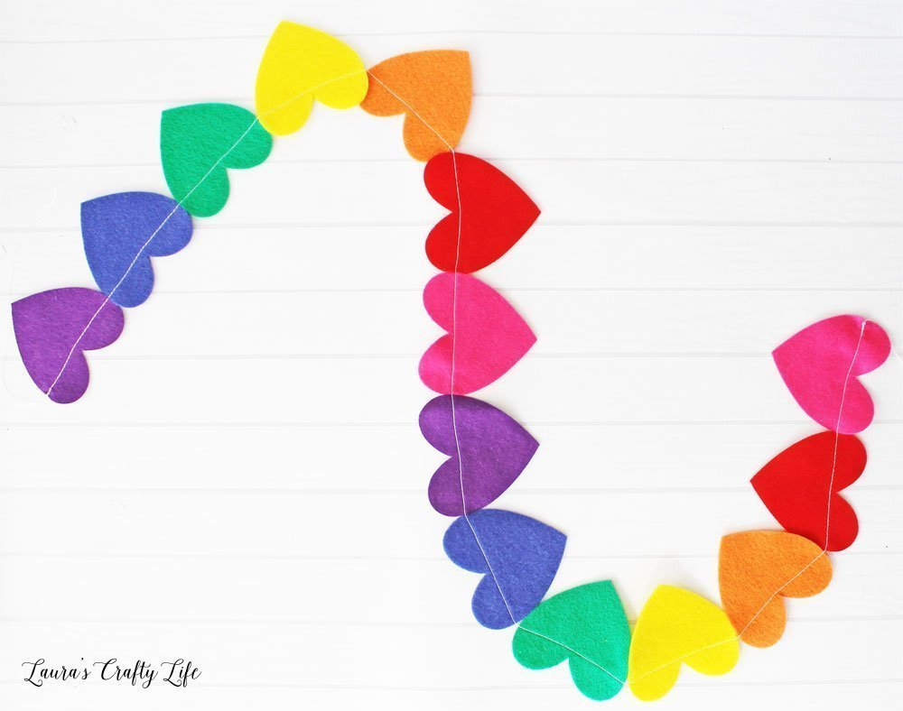 Rainbow Heart Garland made with felt