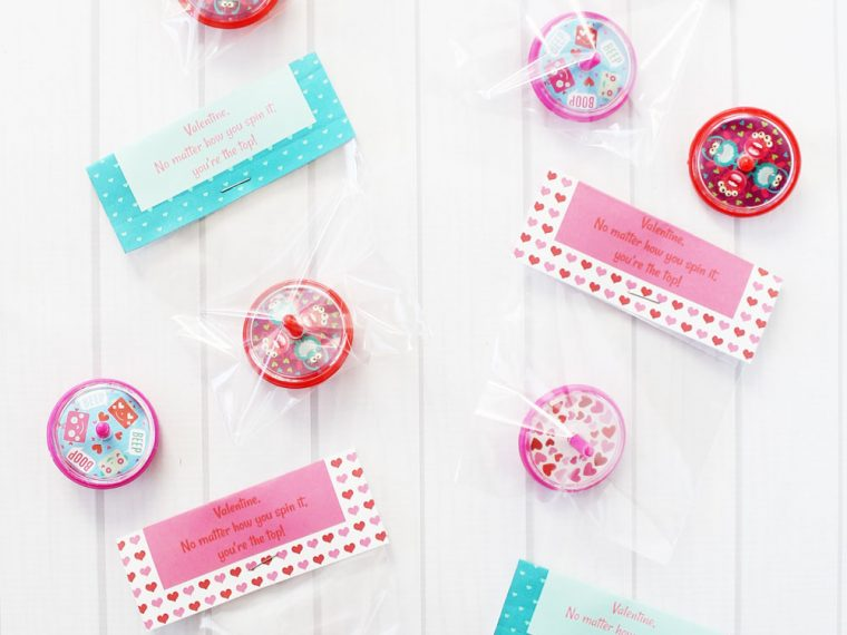 Spinning top valentines with free printable
