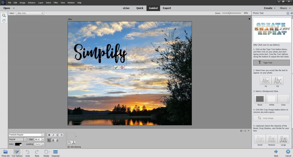 Use Type Tool to add a layer of text to image