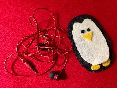 Felt Penguin Earbud Holder