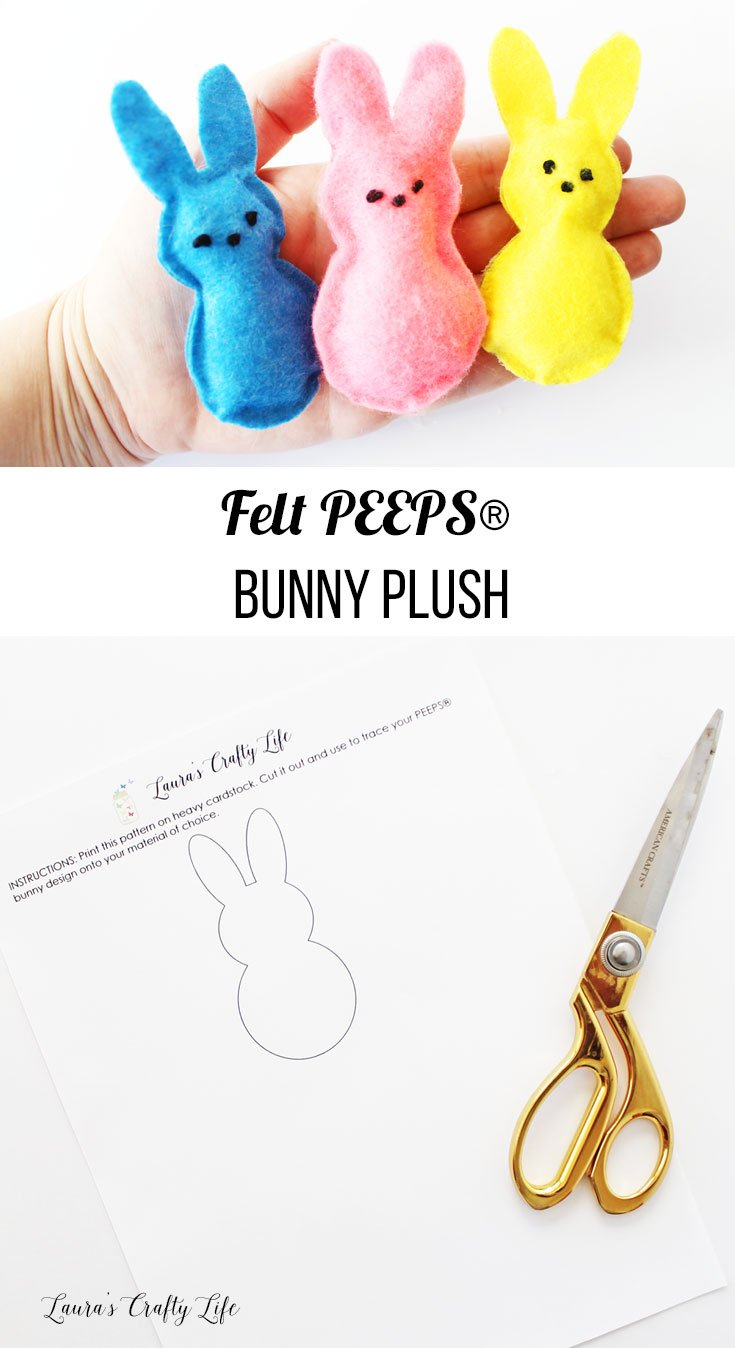 Felt PEEPS® Bunny Plush tutorial with free printable pattern