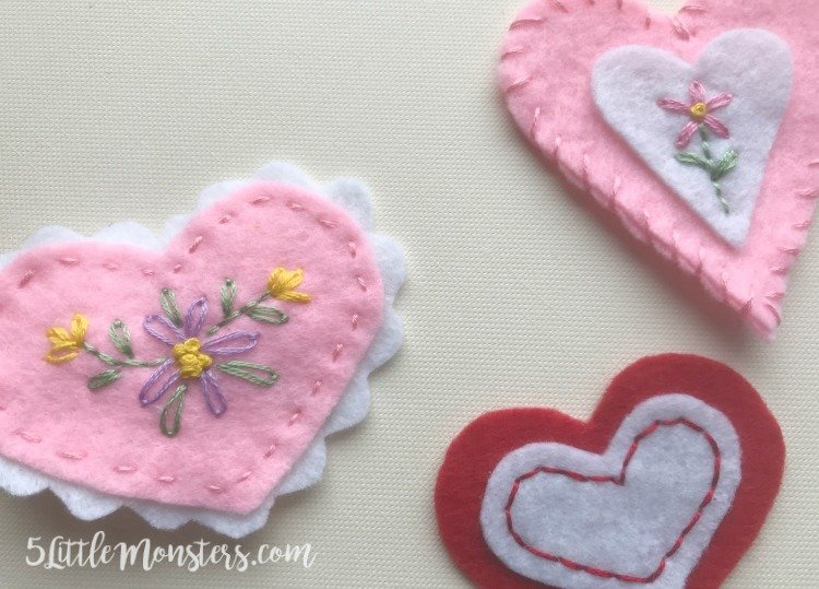 Embroidered Felt Hair Clips