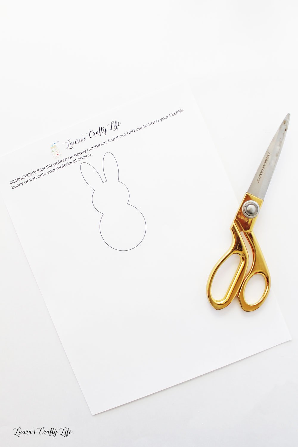 Print out free printable PEEPS bunny pattern and cut out
