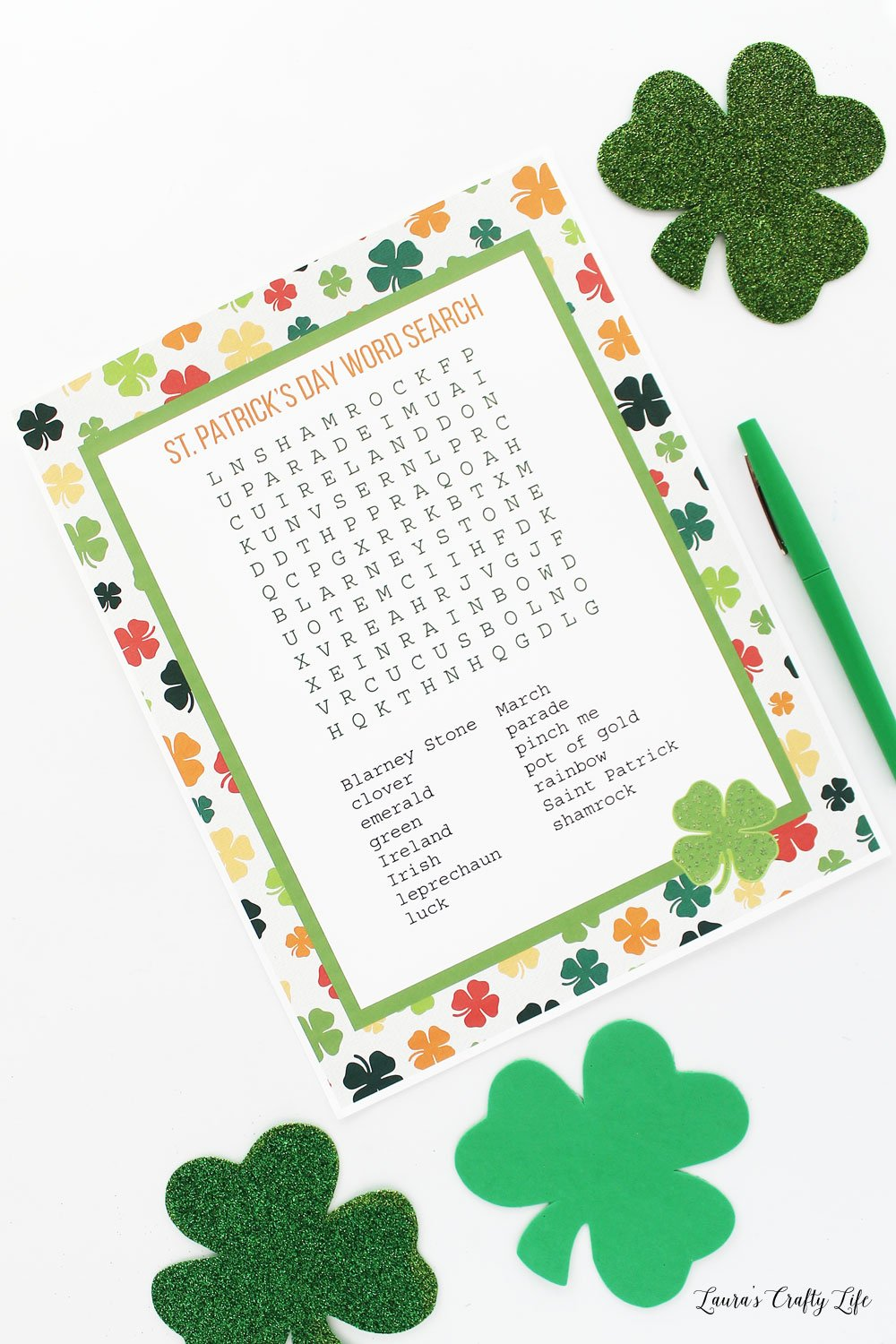 St. Patricks Day word search activity page