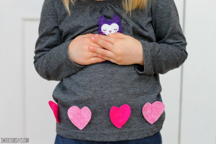 Valentine's Day felt heart shirt