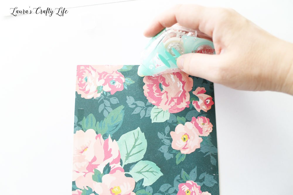 Apply adhesive to patterned paper