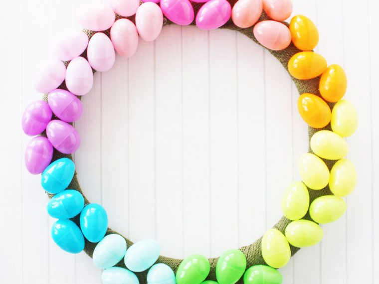 Bright and colorful Easter egg wreath