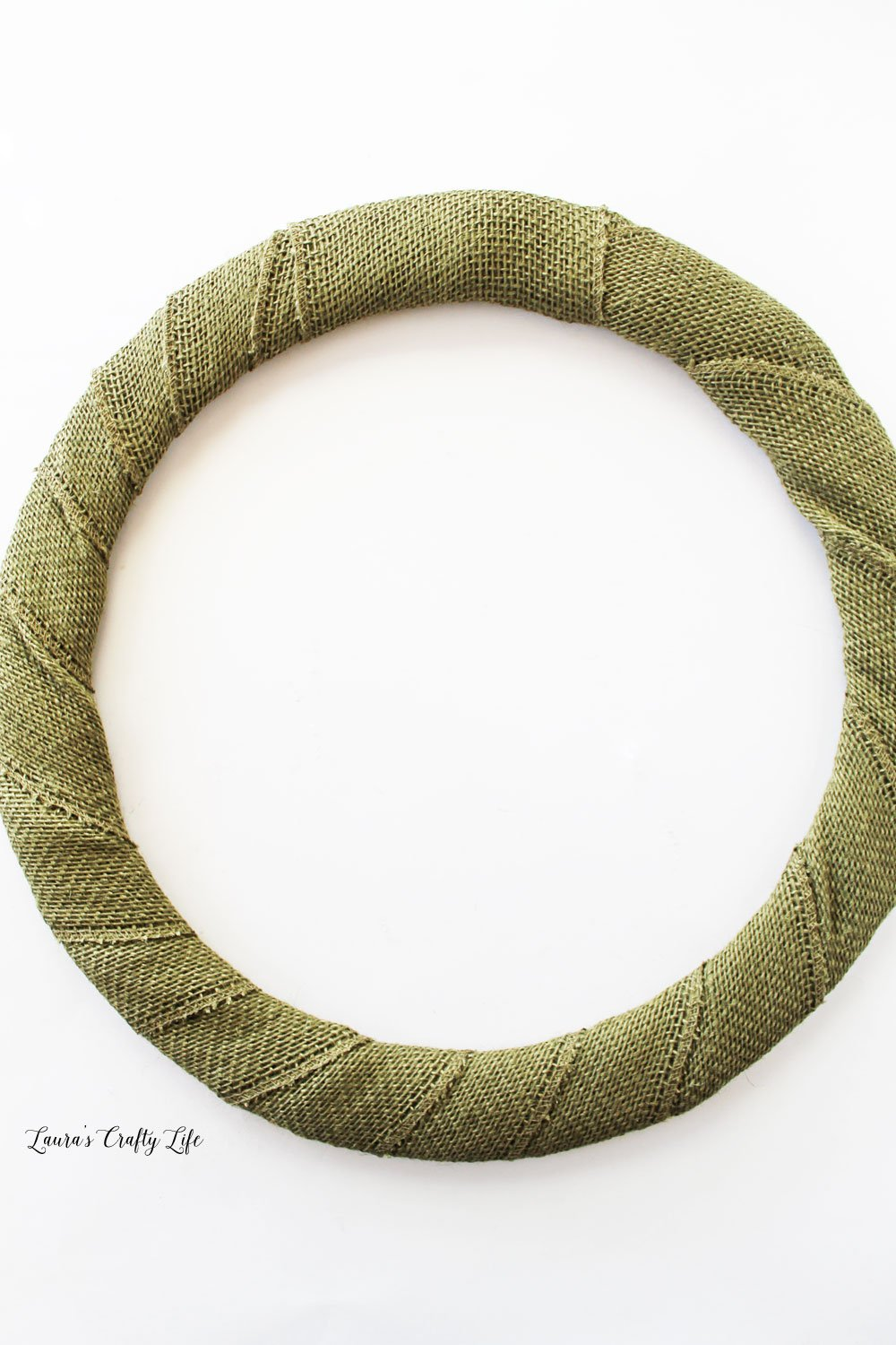 Burlap wrapped wire wreath