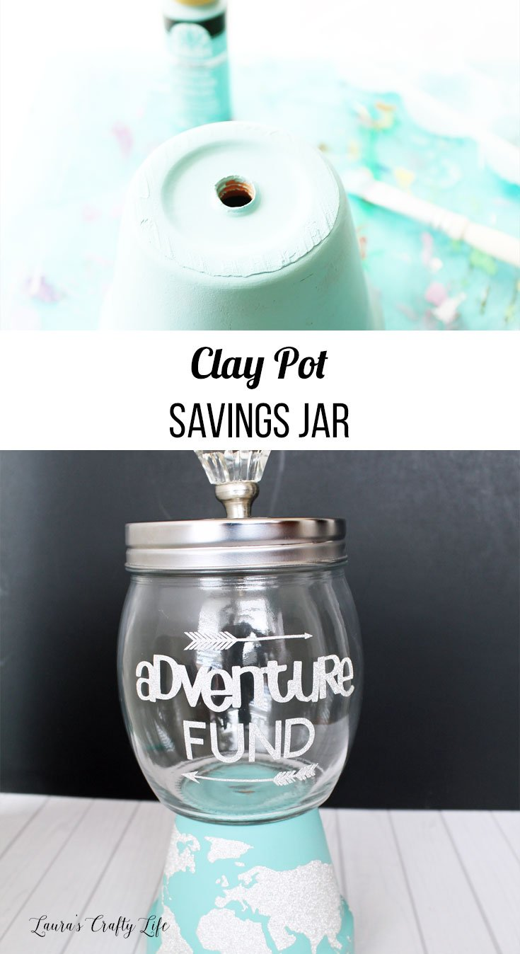 Clay pot savings jar tutorial using the Cricut