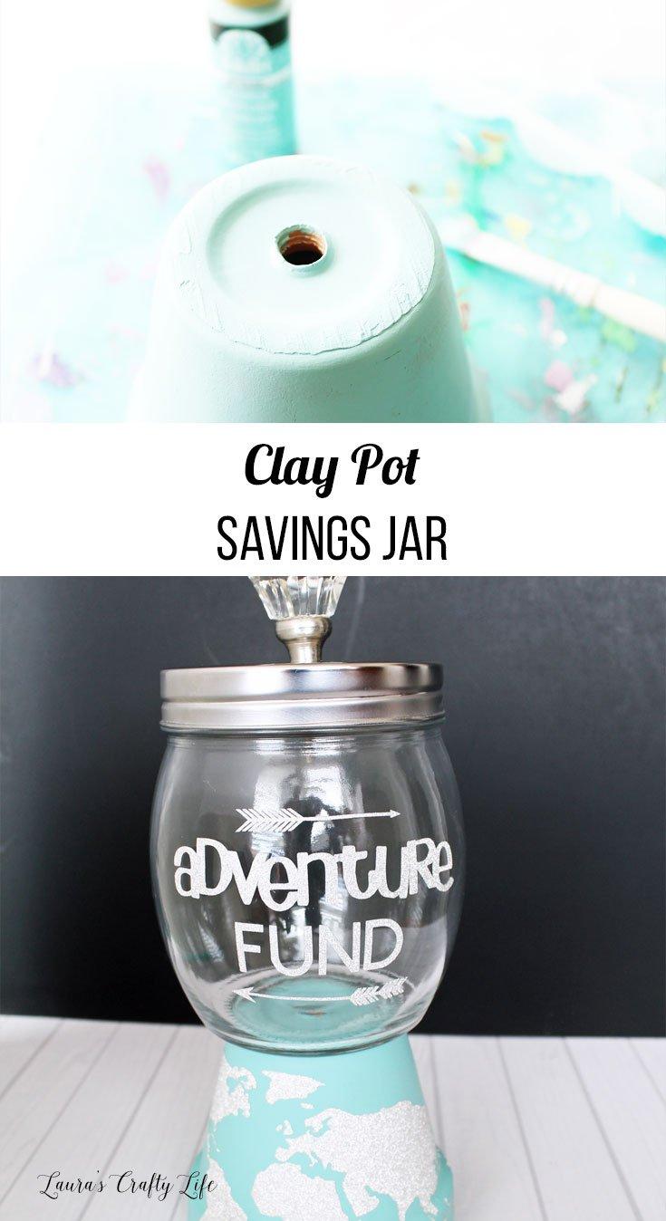 Clay pot savings jar tutorial using the Cricut