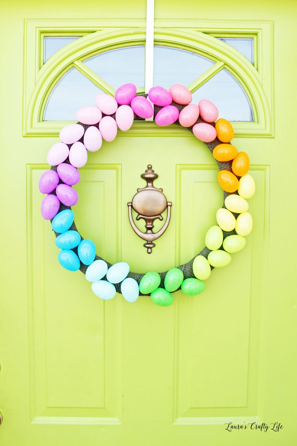 Easter egg wreath on front door