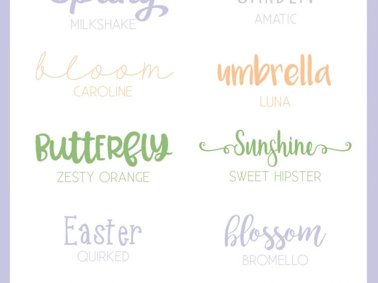 Favorite Spring Fonts - my favorite spring fonts to use in Easter and spring crafts