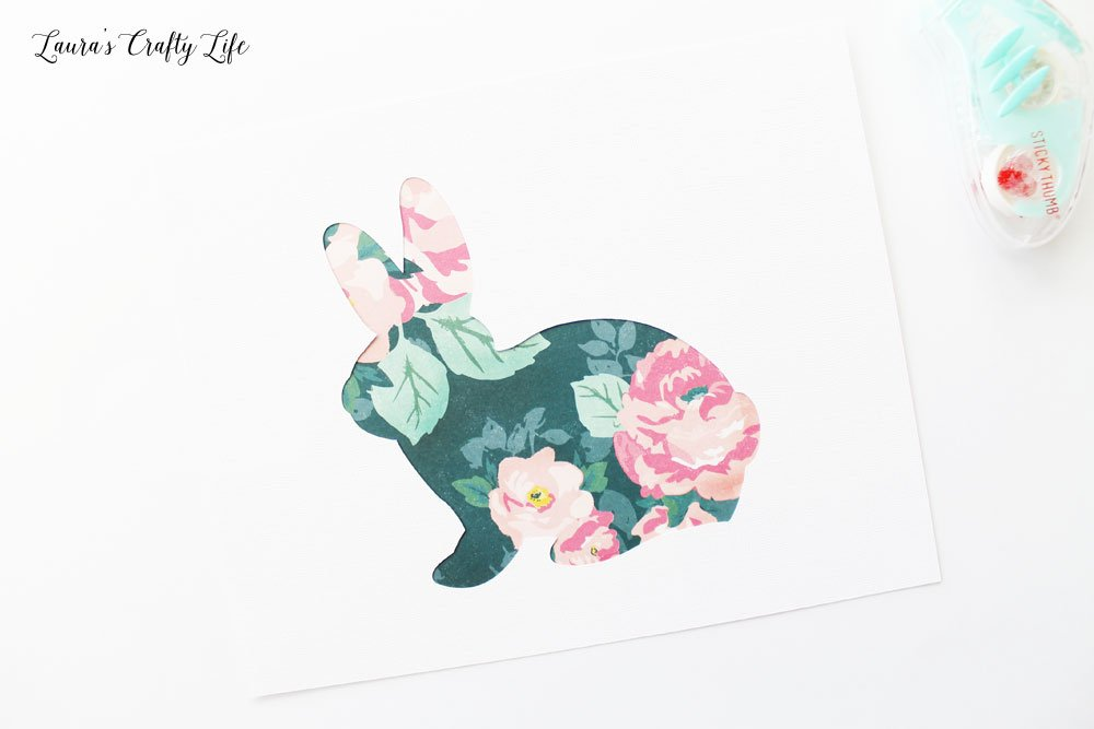 Patterned paper behind bunny cut-out